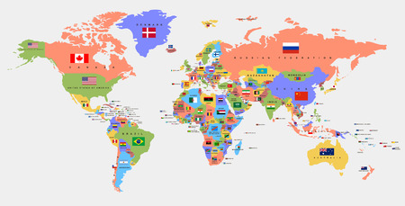 Illustration pour Color world map with the names of countries and national flags. Political map. Every country is isolated. - image libre de droit