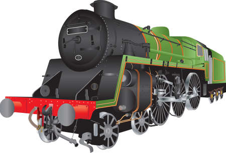 Illustration pour A Green and Black Steam Passenger Locomotive isolated on white - image libre de droit