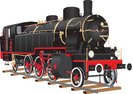 Illustration pour A Vintage Black and Red Ten Wheeled Freight Locomotive with brass fittings isolated on white - image libre de droit