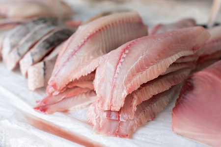 Photo for Fresh Fish Fillet for sale at the Market - Royalty Free Image