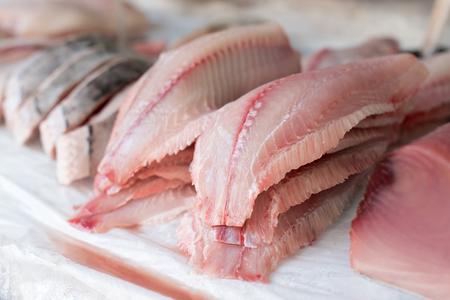 Photo pour Fresh Fish Fillet for sale at the Market - image libre de droit