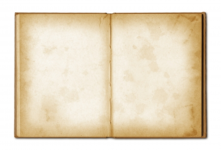 Photo for old grunge open notebook isolated on white with clipping path - Royalty Free Image