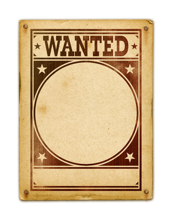Photo for Wanted poster isolated on white background - Royalty Free Image