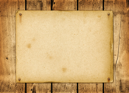 Photo for Blank vintage poster nailed on a wood board panel - Royalty Free Image