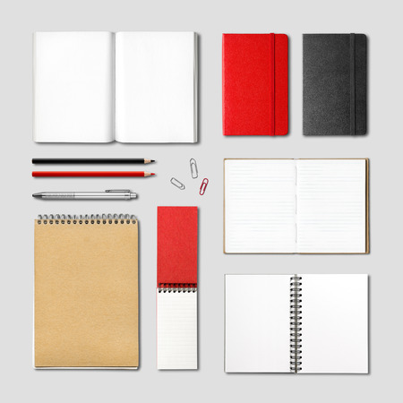 Foto de stationery books and notebooks mockup template isolated on grey background - Imagen libre de derechos