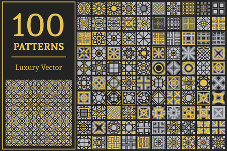 Luxury patterns with geometric ornaments. Vector set of arabic seamless textures