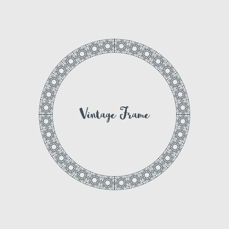 Ilustración de Vintage circular frame of mosaic border. Vector retro design elements and filigree decorations - Imagen libre de derechos