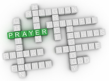 Photo for 3d Prayer word cloud collage, religion concept background - Royalty Free Image