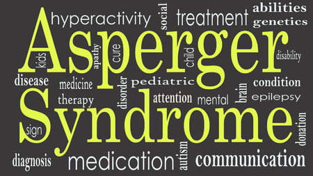 Foto de Asperger syndrome word cloud collage, health concept - Imagen libre de derechos