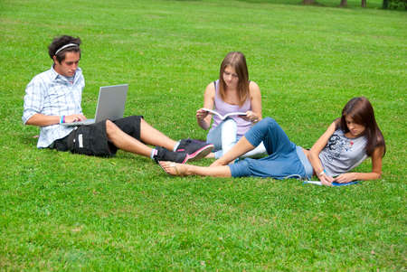 Three students studying outdoors in the park