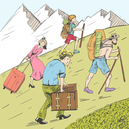 Ilustración de Comic strip of tired travelers climb a mountain. Tourists follow the guide. - Imagen libre de derechos