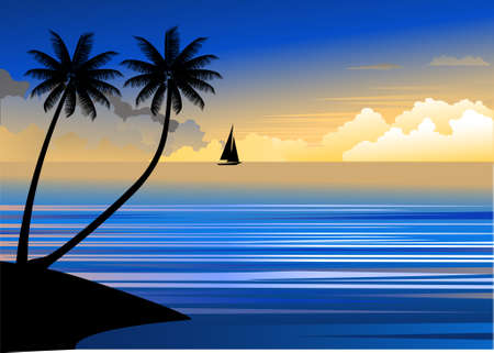 Illustration pour Tropical beach sunset - image libre de droit