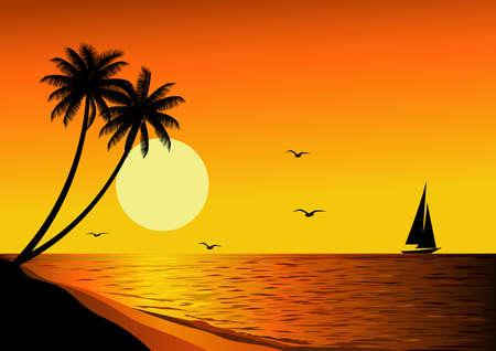 Illustration pour Beautiful sunset - image libre de droit