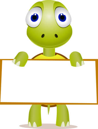 Cute turtle and blank sign