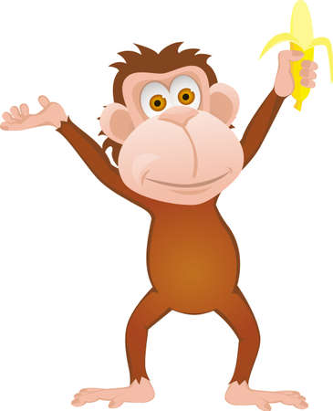 Ilustración de Funny cartoon monkey with banana isolated on white - Imagen libre de derechos