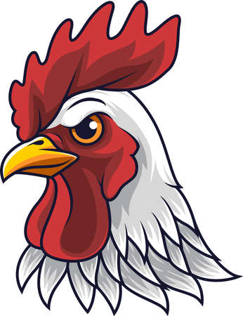 Illustration pour Chicken rooster head mascot - image libre de droit