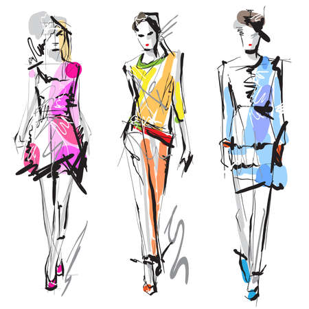 Photo pour Fashion models  Sketch  - image libre de droit