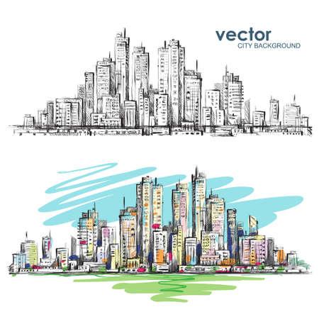 Ilustración de City landscape hand drawn vector - Imagen libre de derechos