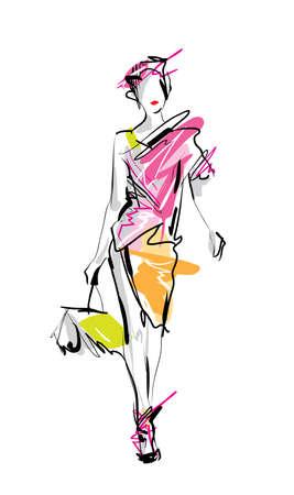Ilustración de Fashion model. Sketch. - Imagen libre de derechos