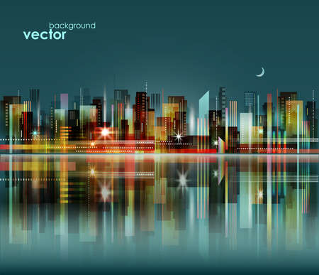 Ilustración de Modern night city skyline, vector cityscape - Imagen libre de derechos