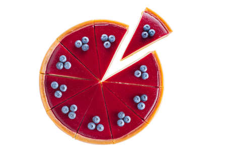 Photo pour round cheesecake with blueberries top view on a white background - image libre de droit