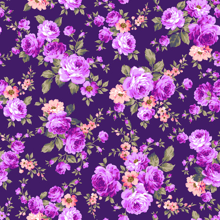 Illustration for Rose flower pattern, - Royalty Free Image