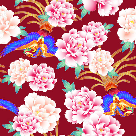Illustration for Peony and Chinese phoenix pattern - Royalty Free Image
