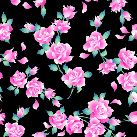 Ilustración de Rose illustration pattern. I designed a rose I worked in vectors This painting continues repeatedly seamlessly - Imagen libre de derechos