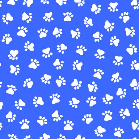 Ilustración de White footprint seamless pattern of an animal, in a blue background - Imagen libre de derechos