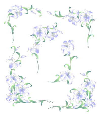 Ilustración de Japanese style lily decoration diameter, I made a decoration frame with a Japanese style lily - Imagen libre de derechos