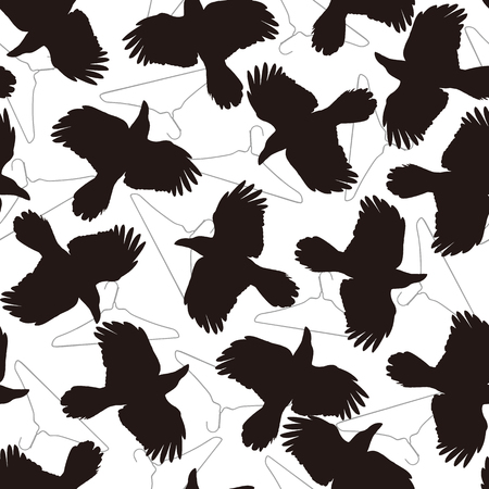 Illustration pour Pattern illustration of the crow, I made a crow a silhouette illustration. - image libre de droit
