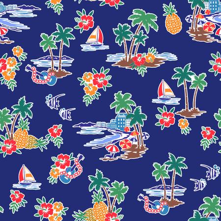 Ilustración de Hawaiian Shore scenery illustration - Imagen libre de derechos