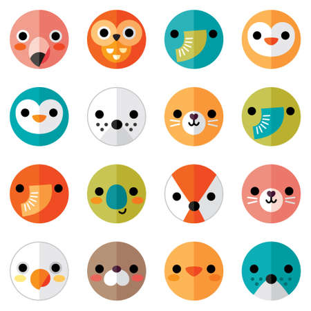 Vector set of flat animal and bird face icons in bright retro colors for stickers, cards, labels and tags. Seamless, isolated on white, minimal style, folded paper design.