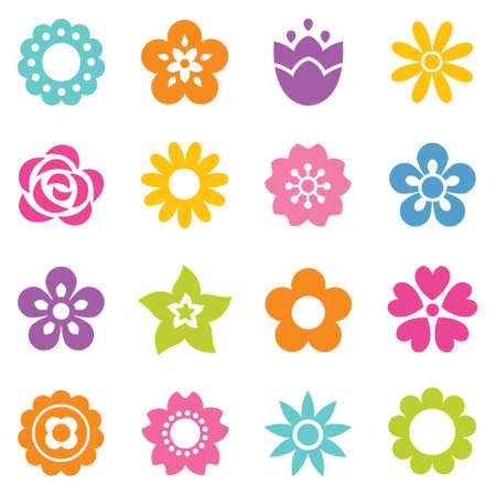 Ilustración de Set of flat flower icons in silhouette. Simple retro illustrations in bright colors for stickers, labels, tags, gift wrapping paper. - Imagen libre de derechos