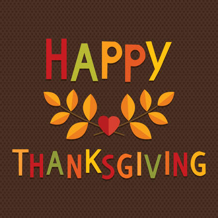 Ilustración de Happy Thanksgiving Day card or menu template in vintage colors with text greeting and autumn leaves on dark textured background. - Imagen libre de derechos