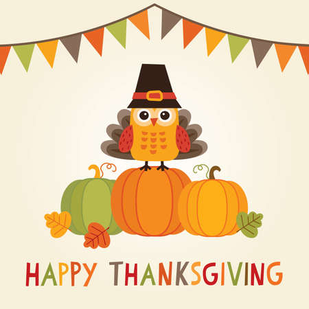 Happy Thanksgiving Day card, poster or menu design with bunting flags and cute owl in turkey costume sitting on a pumpkin.