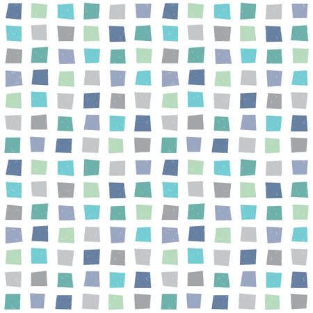Ilustración de Seamless vector hipster geometric background pattern with polygons in aqua blue green navy. Masculine pattern for boys baby gift wrapping paper textiles and scrapbooking. Light grunge overlay. - Imagen libre de derechos