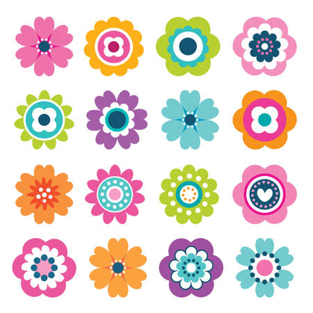 Illustration pour Set of flat flower icons in silhouette isolated on white. Cute retro illustrations in bright colors for stickers, labels, tags, scrapbooking. - image libre de droit