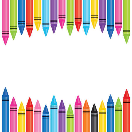 Photo pour Vector banner template with frame of colorful oil pastel crayons. Square format with copy space for Back to School ads, promotions for website, flyer, social media, newsletter, school poster. - image libre de droit