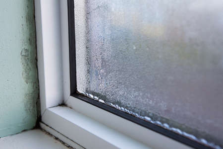 Photo pour House Window With Damp And Condensation - image libre de droit