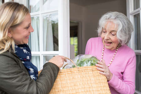 Photo pour Female Neighbor Helping Senior Woman With Shopping - image libre de droit
