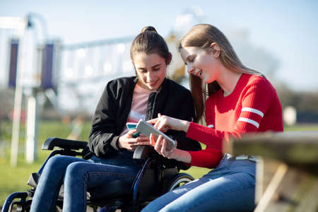 Foto de Teenage Girl In Wheelchair Looking At  Mobile Phone With Friend In Park - Imagen libre de derechos