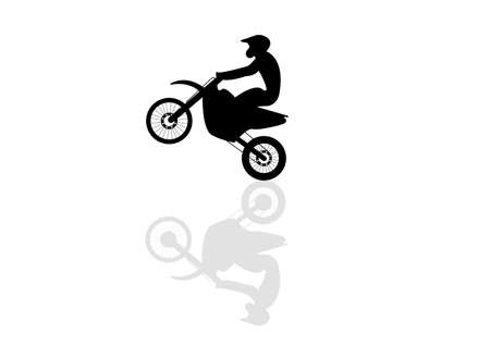 Motorcyclist flies on a motorcycle, lifting up the front wheel. Silhouette