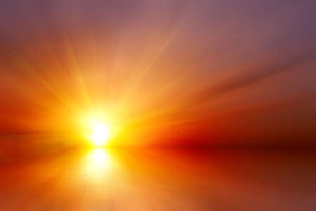 Photo for Abstract bright red sunset with sun rays - Royalty Free Image