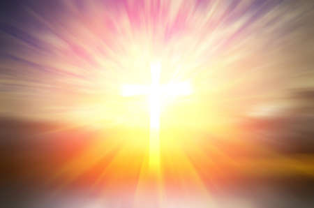 Foto de Cross of hope and faith in God and in the background rays of sunset. religious abstract composition - Imagen libre de derechos