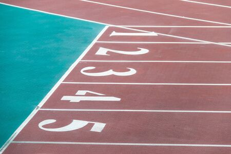 Photo for Close-up track and field plastic track - Royalty Free Image