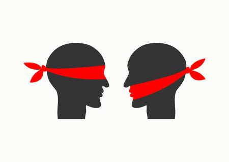 Illustration pour Misunderstanding due to communication problems. Icon prohibition. Vector illustration - image libre de droit