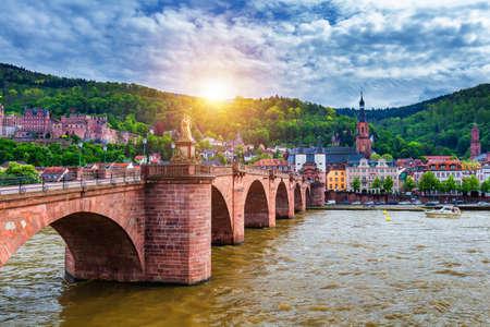 Foto per Old Neckar bridge and Heidelberg city, Germany - Immagine Royalty Free