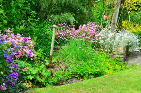 Photo pour English country garden flower borders - image libre de droit