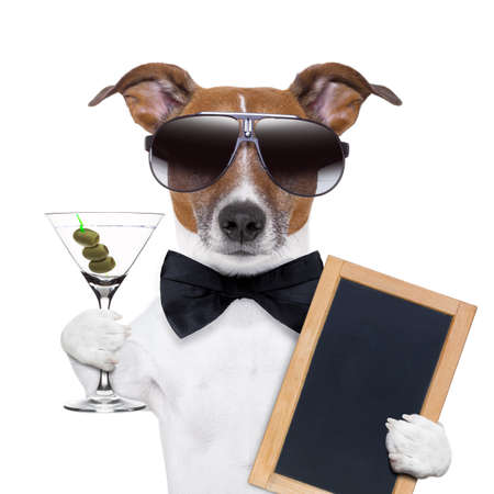 party dog toasting with a martini glass with olives